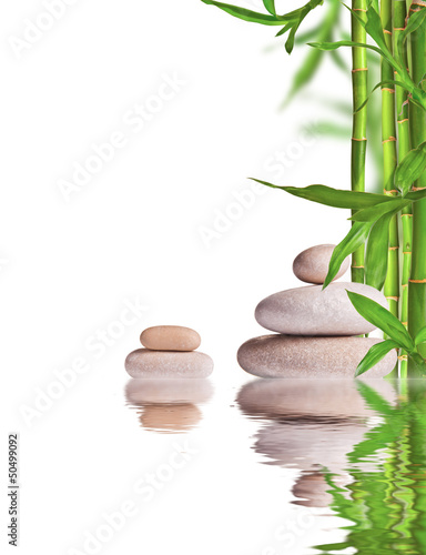 Photo Spa still life with lava stones and bamboo sprouts