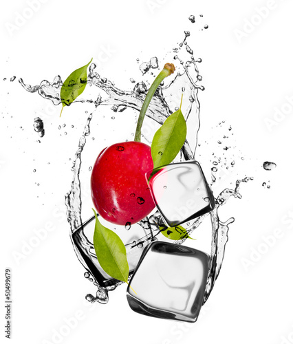 Poster Eclaboussures d eau Cherries with ice cubes, isolated on white background