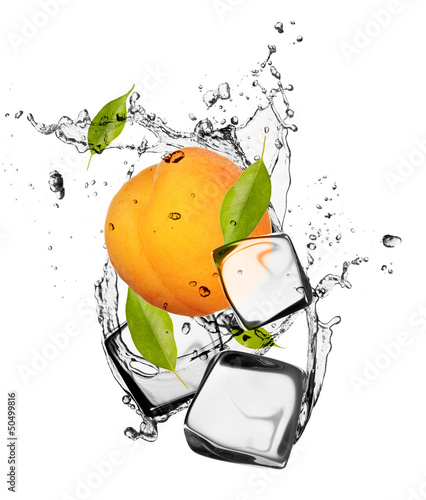 Spoed Foto op Canvas In het ijs Apricot with ice cubes, isolated on white background