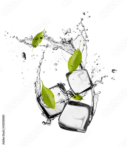 Foto op Canvas In het ijs Ice cubes with water splash, isolated on white background