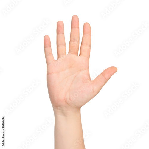 isolated male hand showing the number five