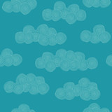 Seamless hand drawn pattern with stylized clouds