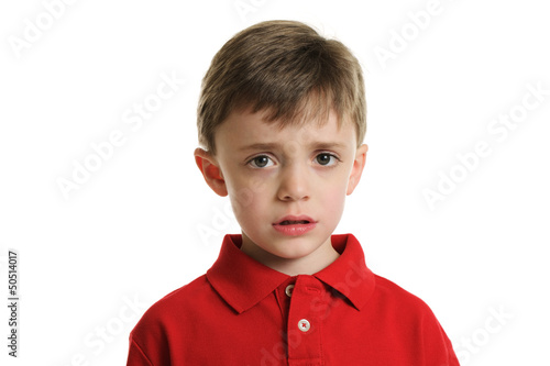 Fotografie, Obraz  Little boy with worried face portrait