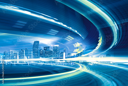 Abstract Illustration of urban highway speed motion - 50515253