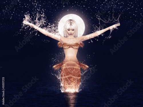 Tuinposter Zeemeermin Jumping mermaid