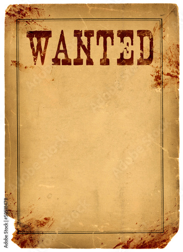 Blood Stained Wanted Poster 1800s Wild West Poster