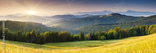 Poster Orange mountains landscape