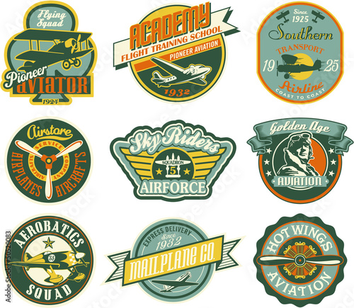 Canvastavla Aviation badges collection in retro style
