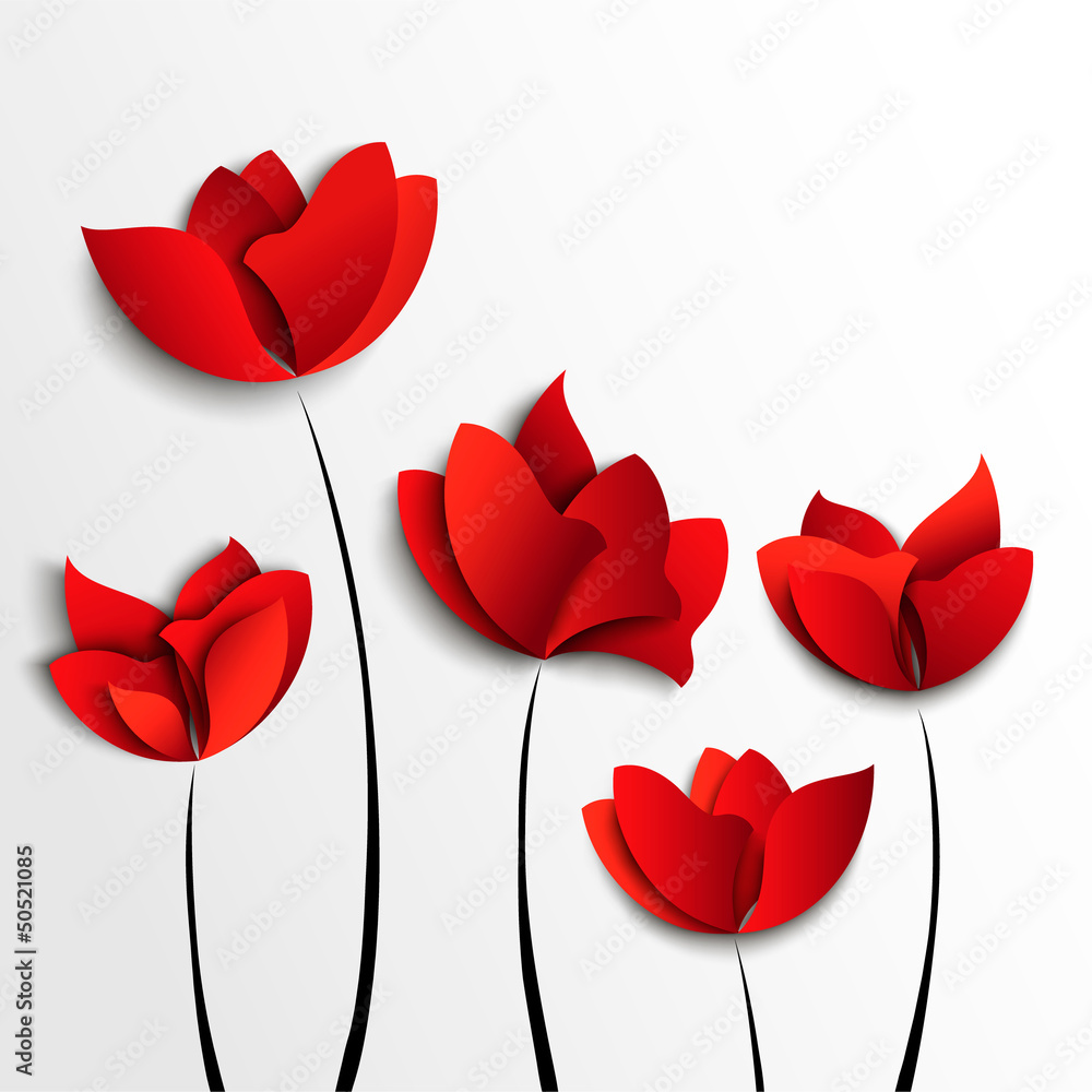 Fototapety, obrazy: Five red paper flowers