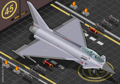 La pose en embrasure Militaire Isometric Eurofighter Landed in Front View