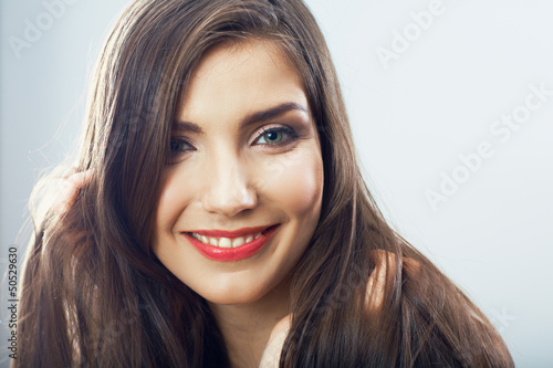Beauty teenager girl close up portrait.