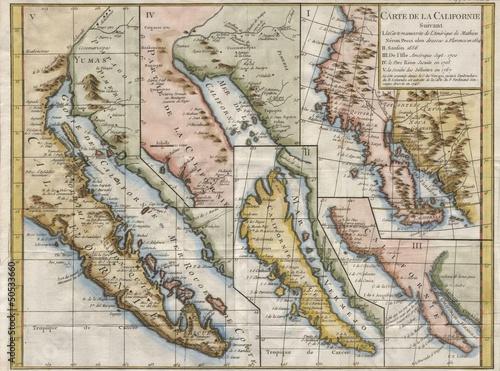 Fotografie, Obraz  California vintage map