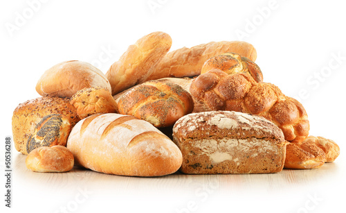 Fotografie, Obraz  Composition with bread and rolls isolated on white