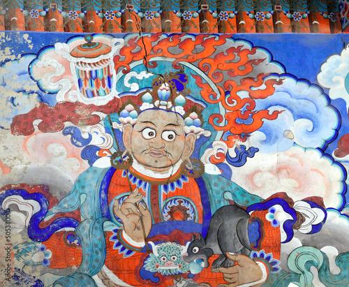 Deurstickers Graffiti collage Buddhist fresco