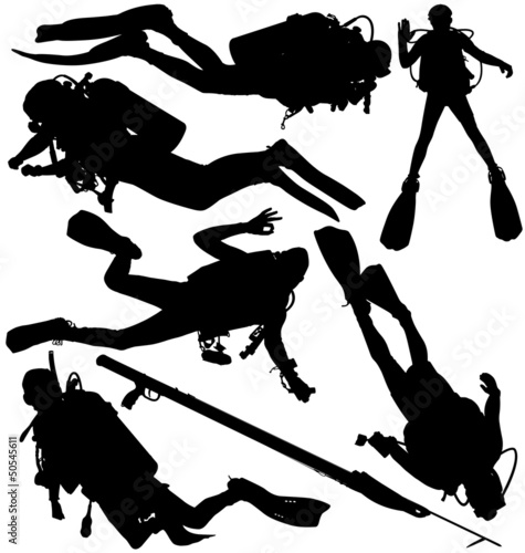 Scuba diver and speargun vector silhouettes. Layered, editable Wall mural