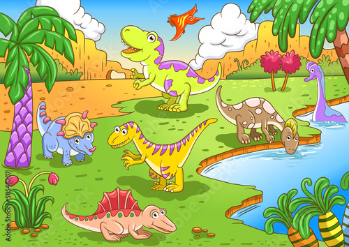 Photo sur Toile Dinosaurs Cute dinosaurs in prehistoric scene