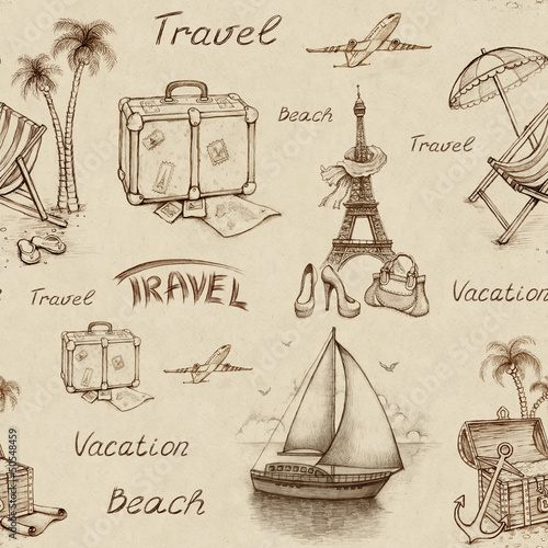 Recess Fitting Illustration Paris Seamless pattern with travel illustrations