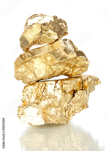 Fotografie, Tablou  Golden nuggets isolated on white