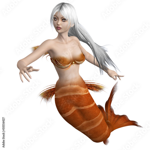 Wall Murals Mermaid Mermaid with white hair