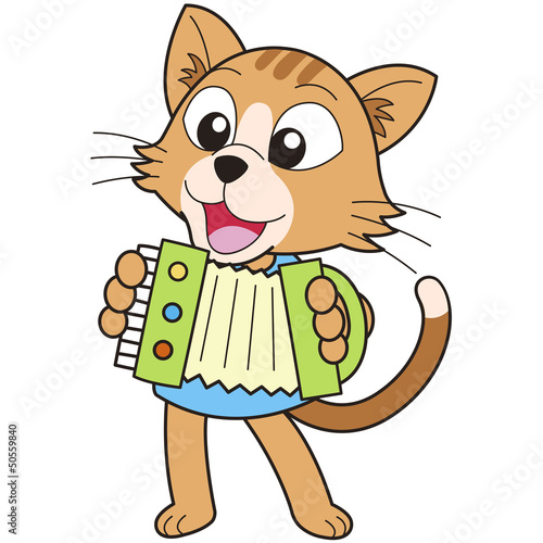 Valokuva  Cartoon Cat Playing an Accordion