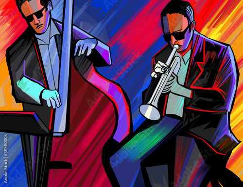 Tuinposter Muziekband jazz band with trumpet and double bass