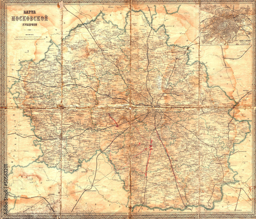 Canvas Print Moscow vintage map 1912