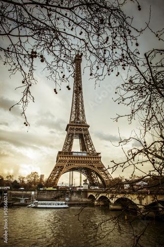 Fotobehang Parijs Parigi Tour Eiffel Tramonto
