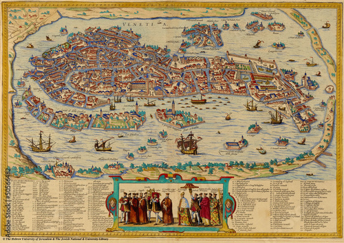 Venice old map Wallpaper Mural