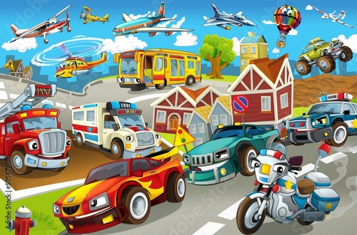 Tuinposter Cartoon cars The vehicles in city, urban chaos