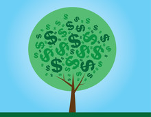 Round Money Tree With Dollar Signs As Leaves