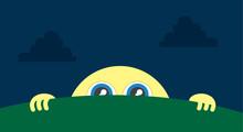 Moon Character Peeking Above The Grass