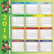 Calendar 2014 With Roses