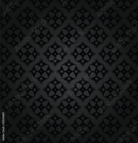 Seamless Black Floral Wallpaper Diamond Pattern Buy This Stock