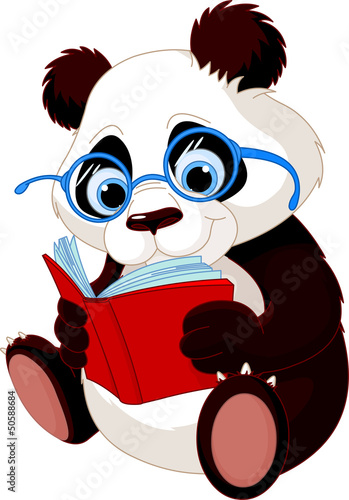 Fotobehang Beren Cute Panda Education
