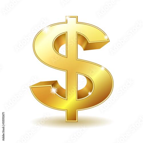 Fotografie, Obraz  Golden dollar sign