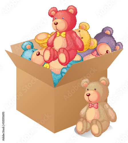 Photo sur Toile Ours A box full of toys