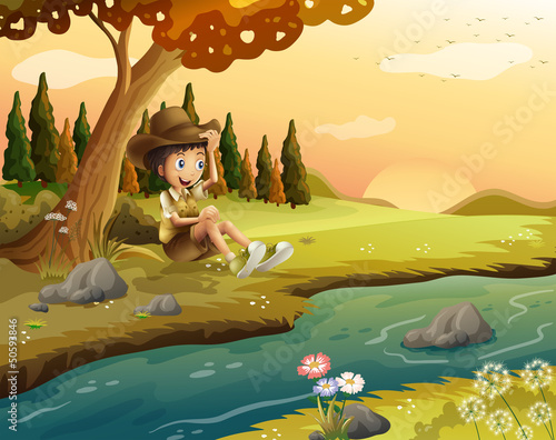 Poster Oiseaux, Abeilles A boy sitting at the riverbank