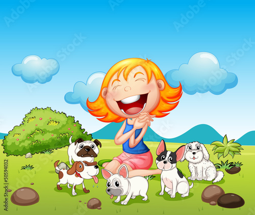 Chiens A happy lady with her pets