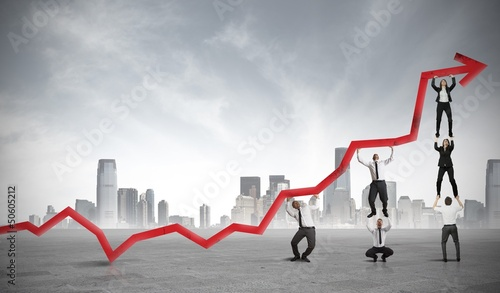 Fototapeta na wymiar Teamwork and corporate profit