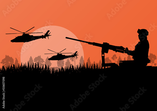Poster Militaire Army soldier with helicopters, guns and transportation