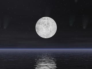 FototapetaComets and full moon - 3D render