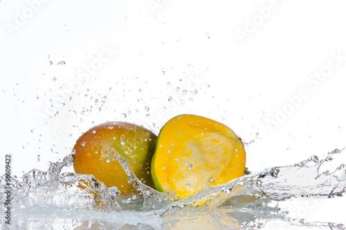 Garden Poster Splashing water Avocado fruit with water splashes