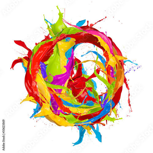 Colored paints splashes circle, isolated on white background Fototapete