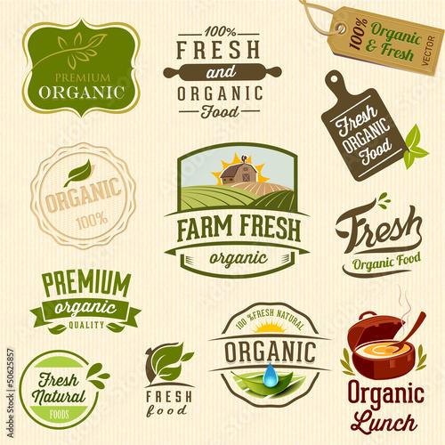 Foto  Set of Fresh Organic labels and elements