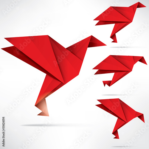 Poster Geometric animals Origami paper bird on abstract background
