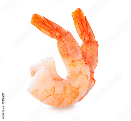 Photo  Shrimps. Prawns isolated on a White Background. Seafood