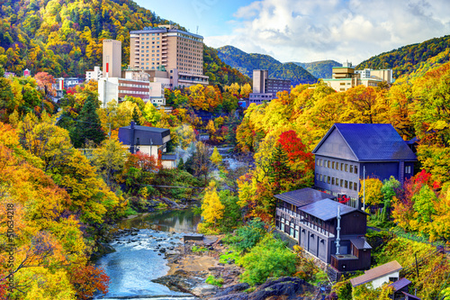 Photo sur Toile Miel Hot Springs Resort Town in Jozankei, Hokkaido, Japan