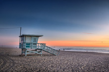 Santa Monica Beach At Sunset, ...