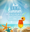 Summer holidays emblem and tropical resort symbols on beach