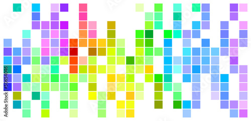 Foto op Aluminium Pixel Mosaic Rainbow Colored Rectangles